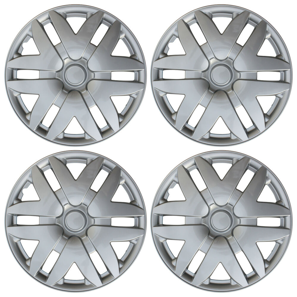 4 pc new universal hubcaps abs silver 16 inch wheel cover hub caps covers cap ebay. Black Bedroom Furniture Sets. Home Design Ideas