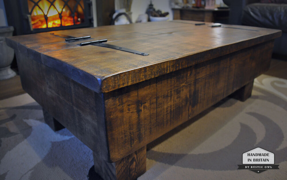 Storage coffee table wood chest rough sawn rustic pine 3ft 2 plank lid design ebay Coffee table chest with storage