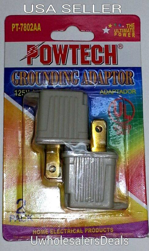 3 Prong To 2 Prong Grounding Adapter Converter 2 Pieces In
