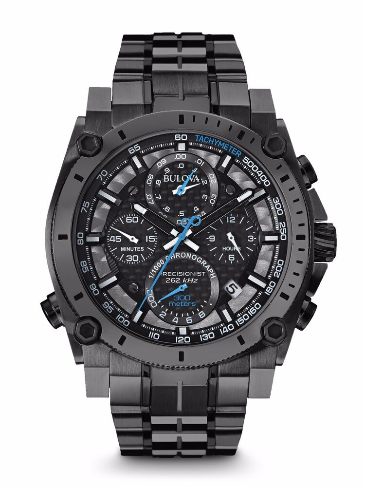 New bulova 98b229 precisionist chronograph gunmetal stainless 300m men 39 s watch 428150306016 ebay for Watches bulova