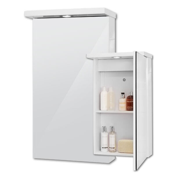 mirrored bathroom cabinet with light bathroom mirror cabinet spot light 2 shelves storage 400 23382
