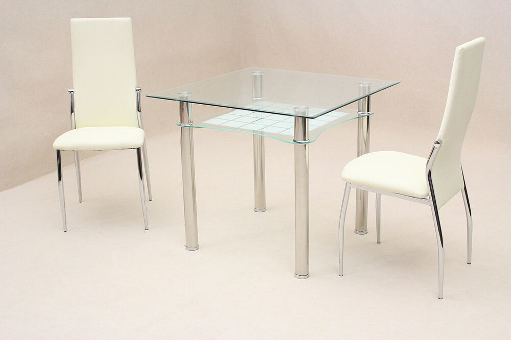 Jazo Small Clear frosted Glass Square Dining Table with  : s l1000 from www.ebay.co.uk size 1000 x 666 jpeg 58kB