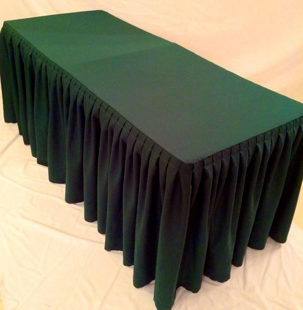 6 39 ft fitted polyester double pleated table skirting for Table skirting