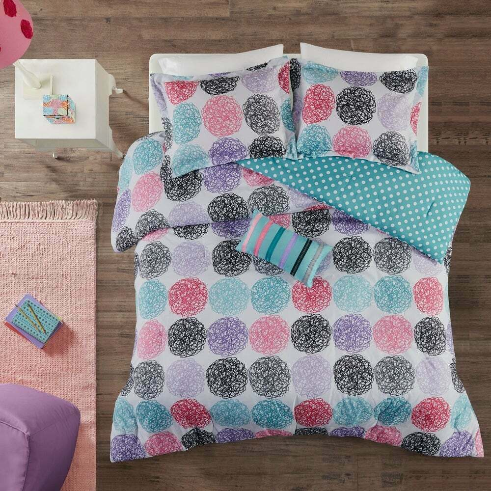 reversible pink blue teal purple grey black stripe polka dot girls comforter set ebay. Black Bedroom Furniture Sets. Home Design Ideas