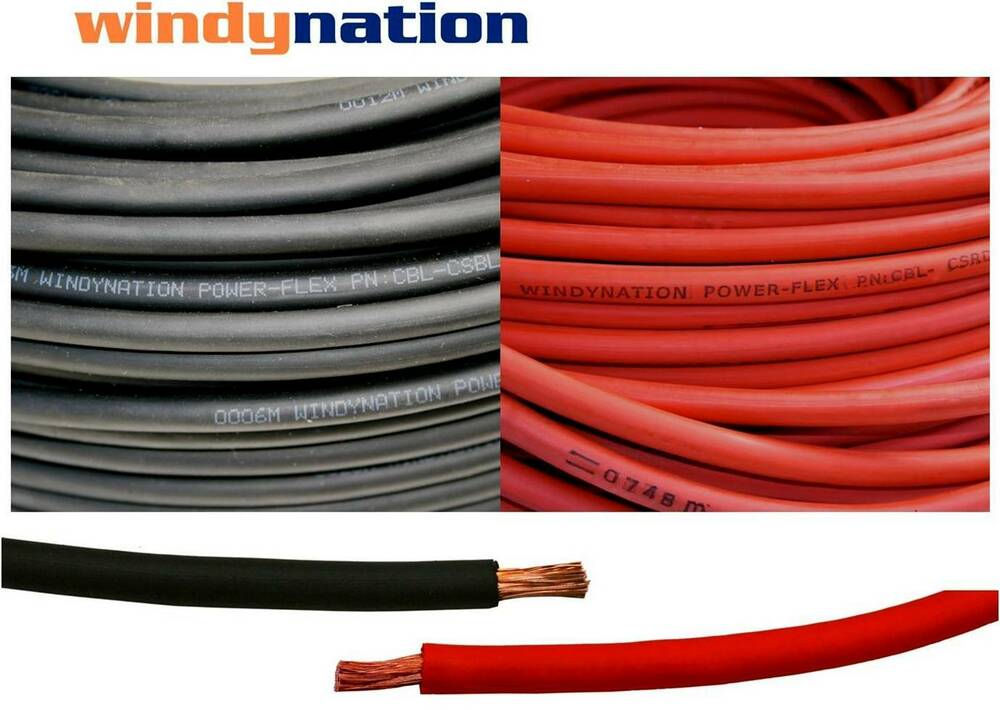 4 0 Copper Cable : Awg welding cable wire red black gauge copper