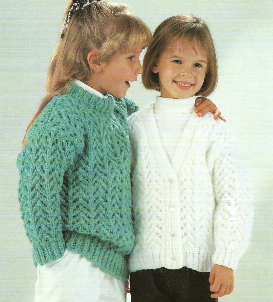 Chunky Cardigan Knitting Pattern : Girls knitting pattern chunky cardigan and sweater