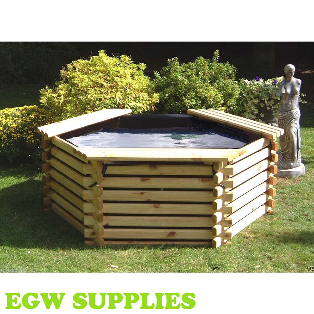new wooden pool 175 gallon raised garden fish pond water. Black Bedroom Furniture Sets. Home Design Ideas