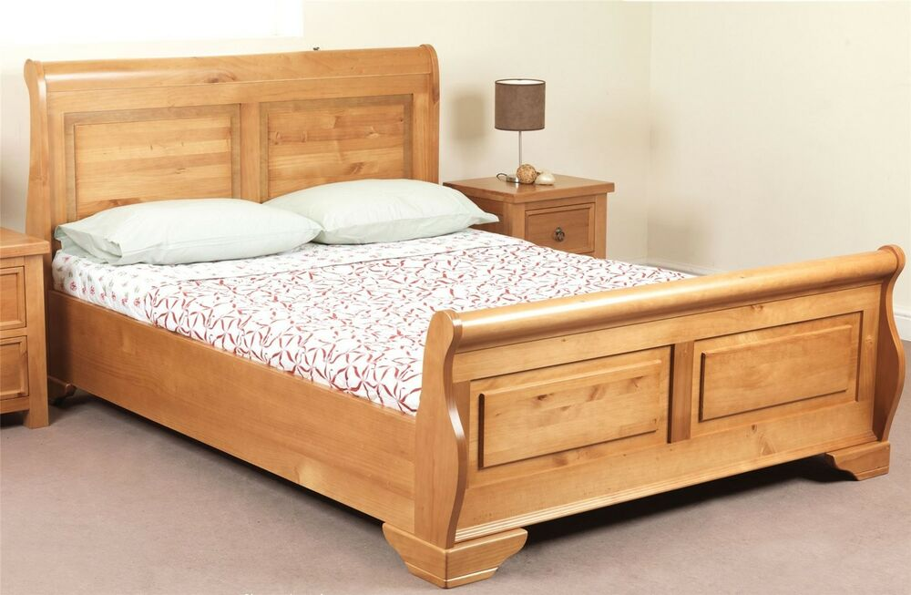 Sweet dreams jackdaw oak sleigh bed frame 135cm double 4ft6 solid wood ebay Wooden bed furniture