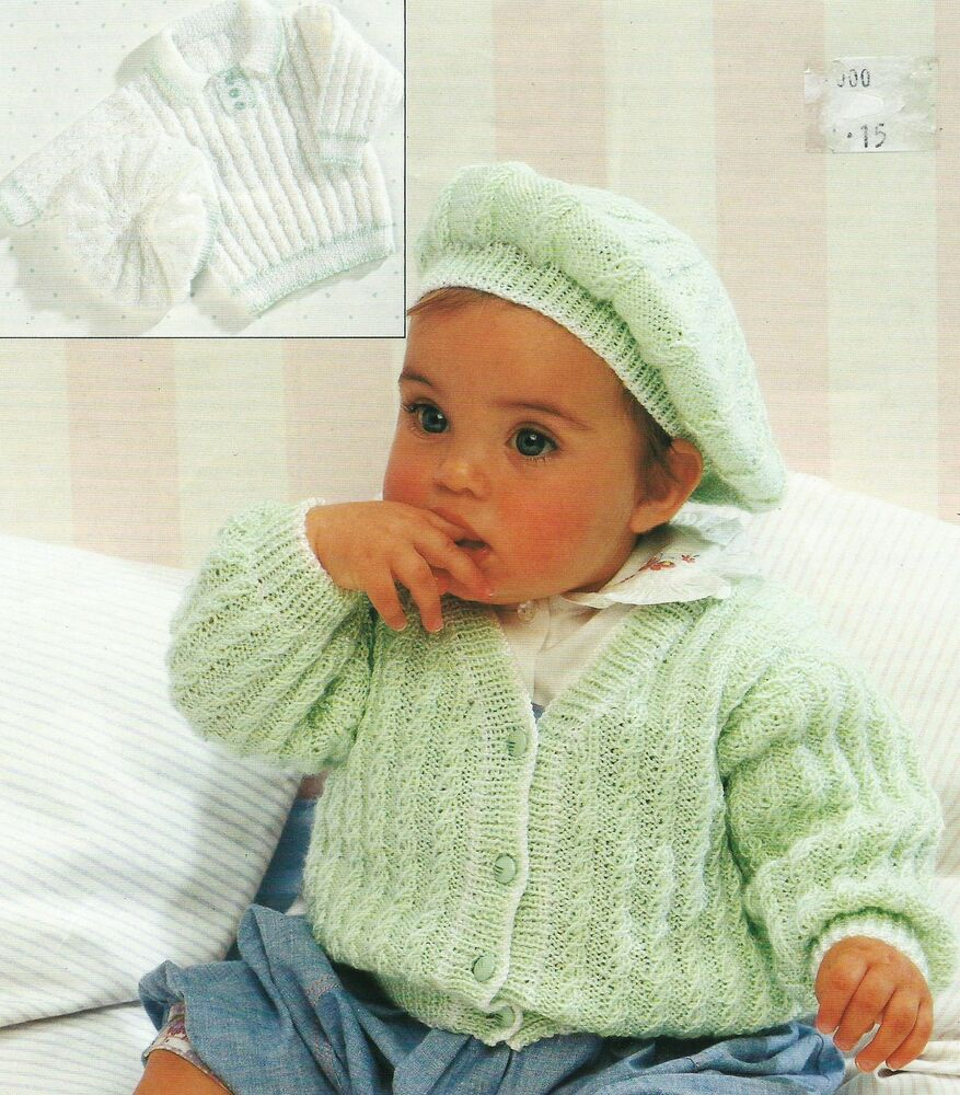 Knitted Beret Pattern Toddler : Baby Cardigan and Sweater Beret Knitting Pattern 16-26