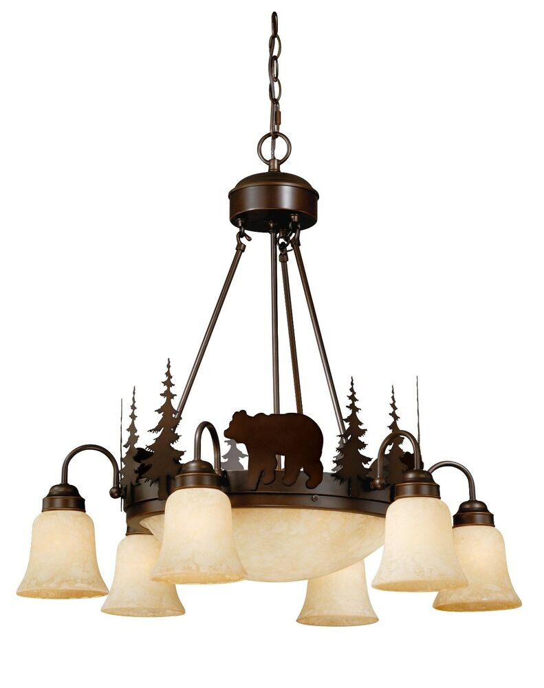 Bear vaxcel yellowstone rustic country chandelier bozeman for Country lighting fixtures for home