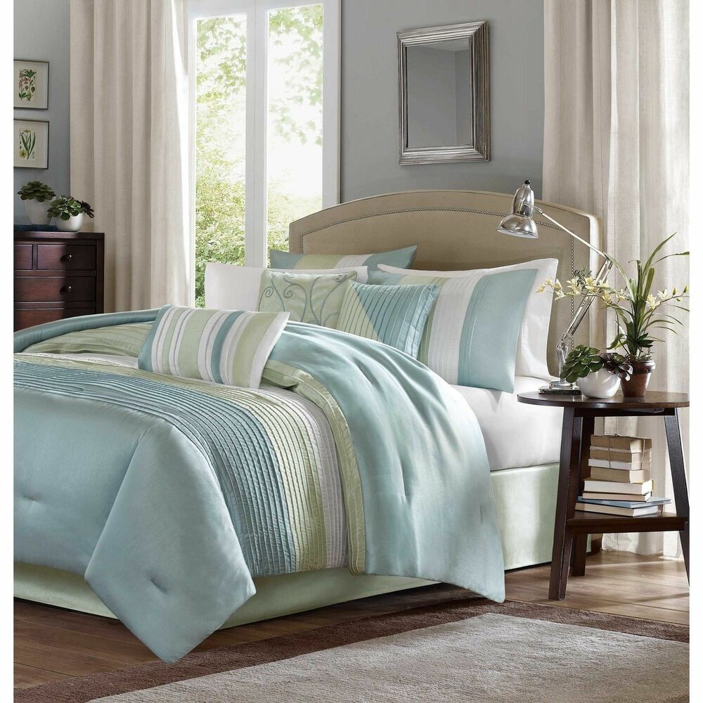 Beautiful elegant light blue green ivory white stripe for Elegant white comforter sets
