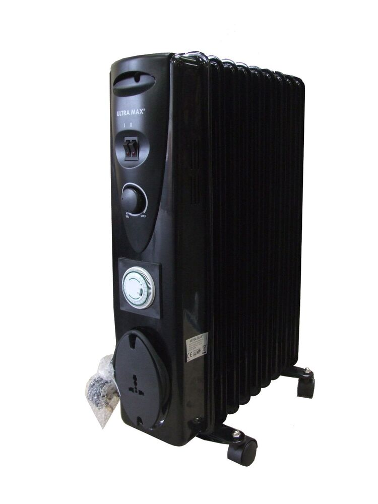 Portable 9 Fin 2000w Electric Oil Filled Radiator Heater
