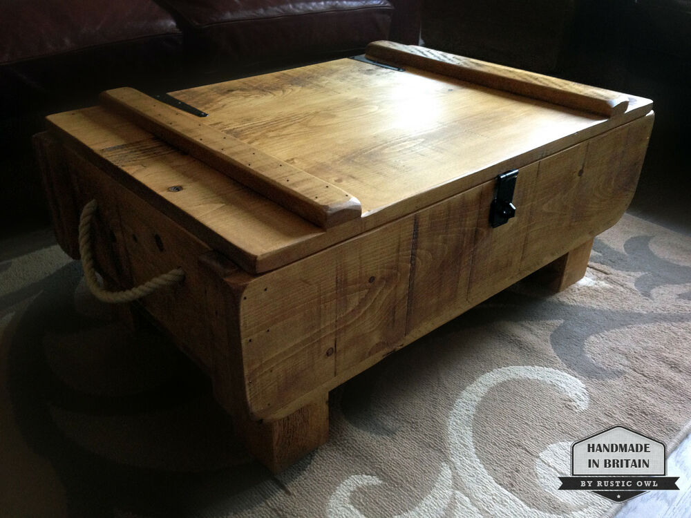 Rustic 3ft Storage Chest Coffee Table Rough Sawn Plank
