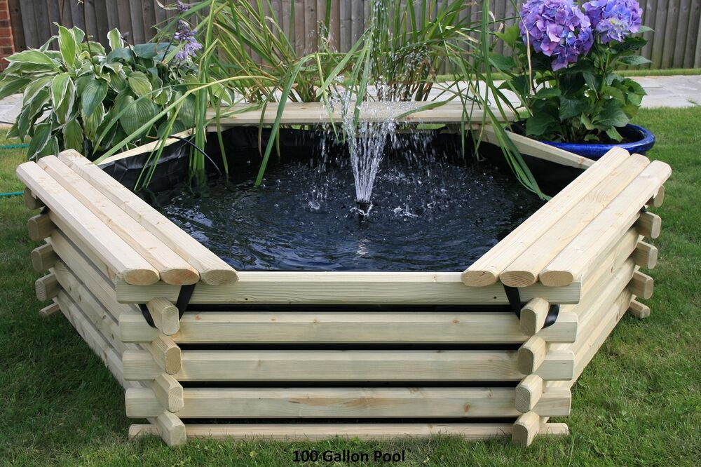 100 gallon garden pond liner pump raised wooden pool