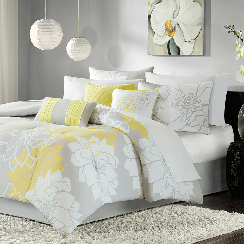 retro modern soft cotton chic yellow white grey comforter set w pillows new ebay. Black Bedroom Furniture Sets. Home Design Ideas