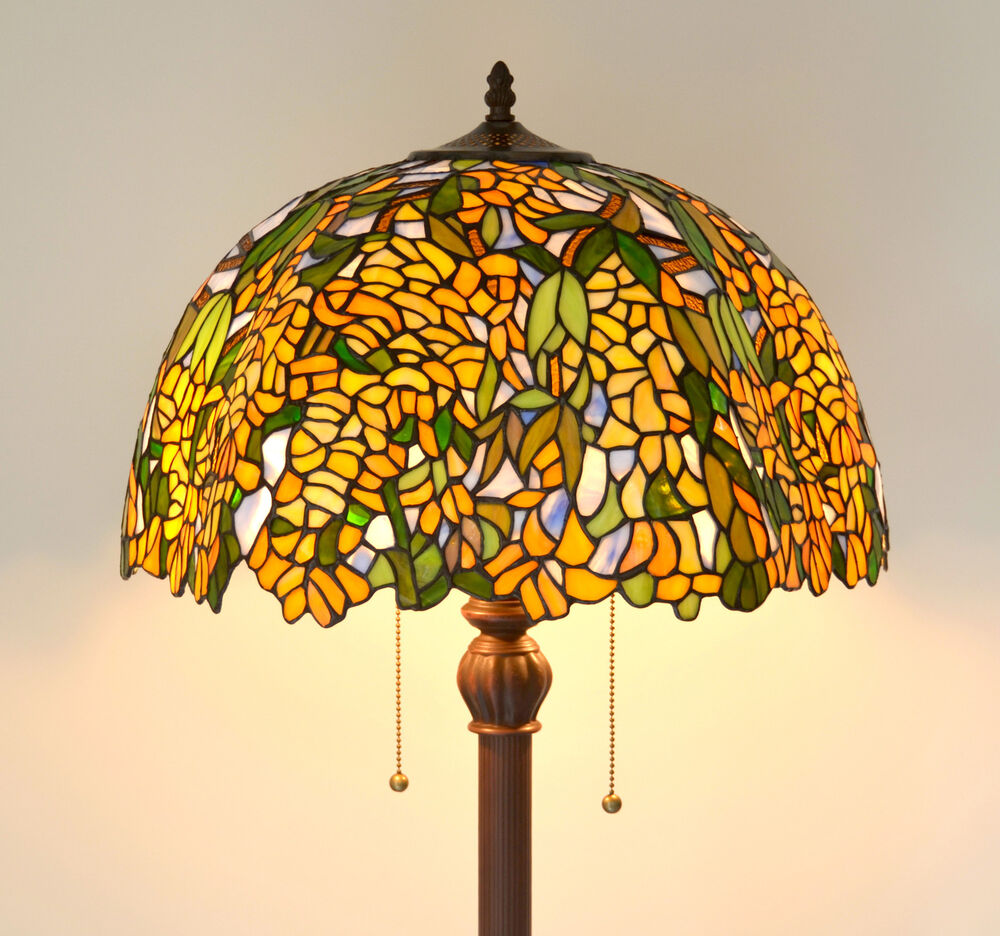 laburnnum stained glass tiffany style floor lamp sold out ebay. Black Bedroom Furniture Sets. Home Design Ideas