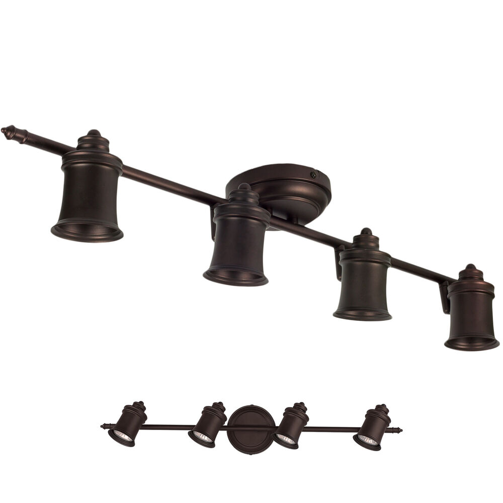 Wall Mounted Track Lights : Oil Rubbed Bronze 4 Light Track Lighting Ceiling or Wall Fixture Interior eBay