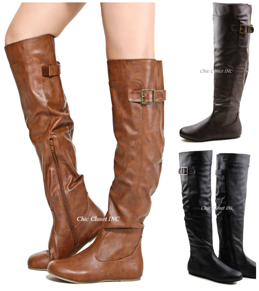 Women Tall Over The Knee High Flat Low Heel Boots Riding ...