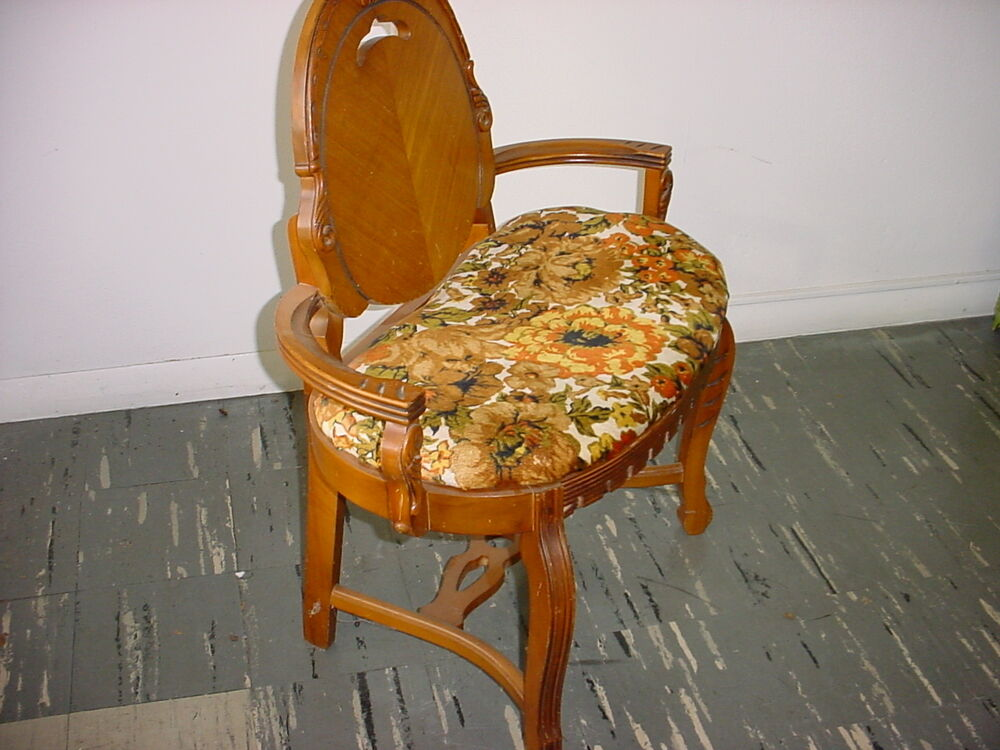 Rare antique cloth and wood vanity chair ebay - Antique vanity stools ...