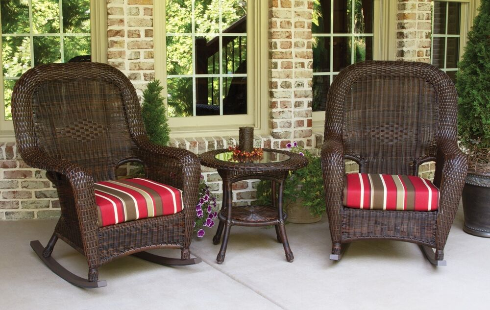 Outdoor patio furniture resin wicker lexington rocking chair set ebay Plastic wicker patio furniture