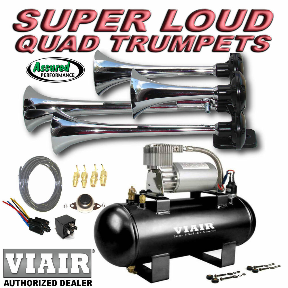 Loud Quad Trumpet Truck Train Air Horn Kit Viair 275c 120psi Ez Wiring Diagram Install System Ebay
