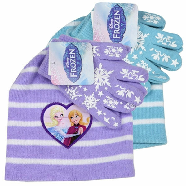 Disney Frozen Girls Hat Gloves Set Toddler Lavender