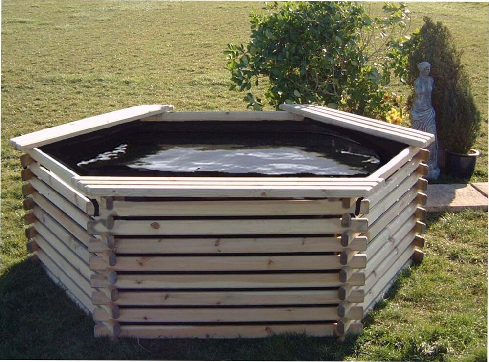 400 gallon garden fish koi pond with liner raised wooden for Garden table fish pond