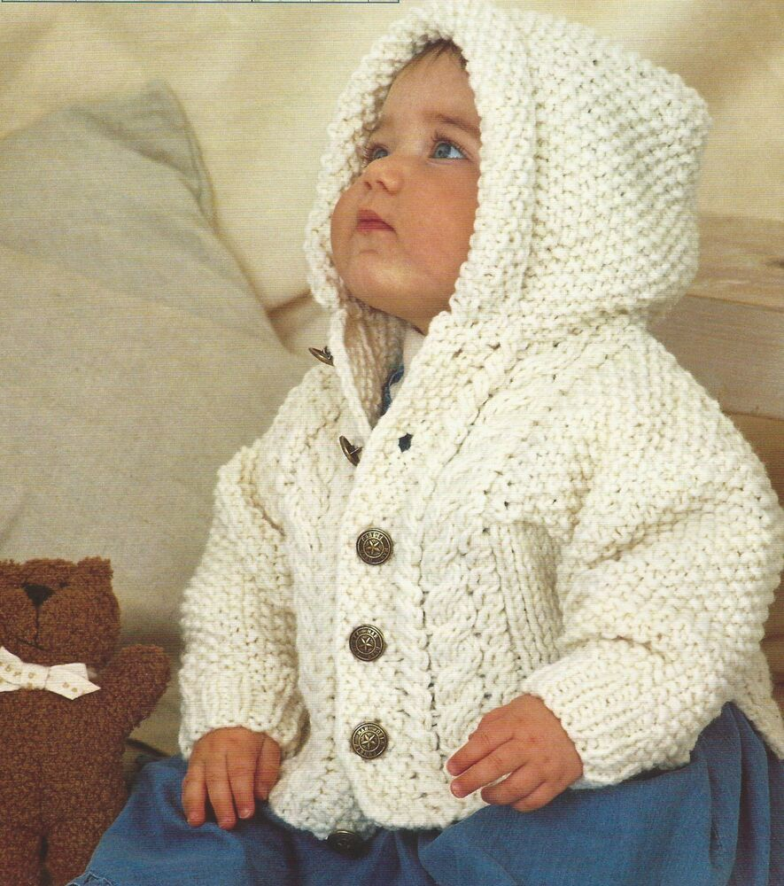 Free Aran Knitting Patterns For Boys : Baby Knitting Pattern Chunky Jacket Boys Girls 16-28