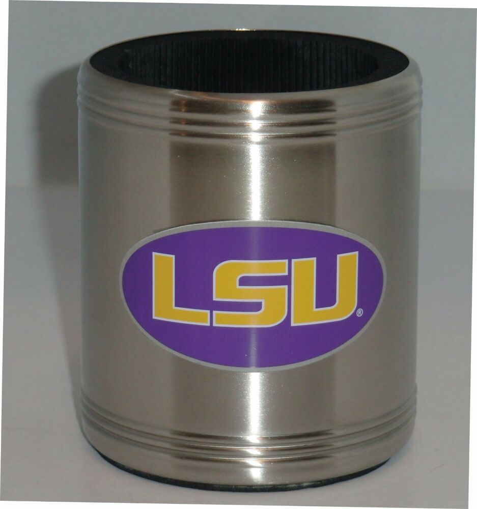 Stainless Steel Can Cooler ~ Lsu tigers insulated stainless steel can cooler coozie