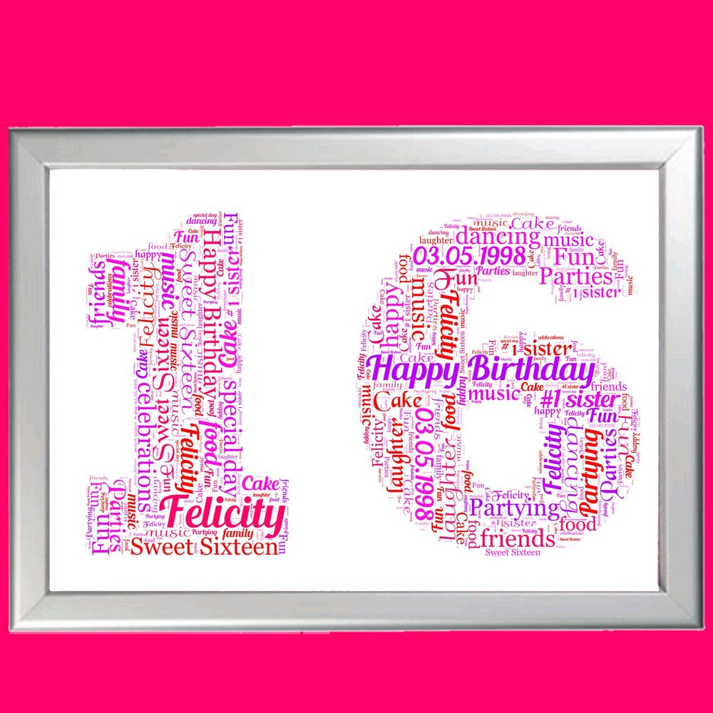 Details About 16th BIRTHDAY WORD ART