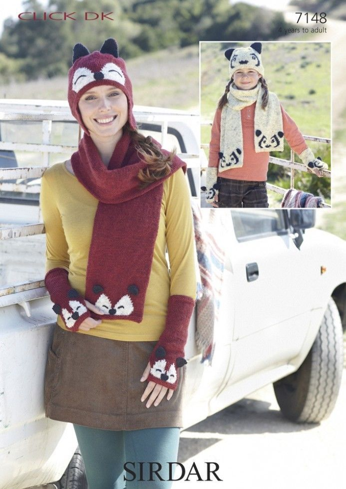 Knitting Pattern Ladies Gloves Dk : LADIES GIRLS FOX OR PANDA ANIMAL HAT SCARF GLOVES KNITTING ...