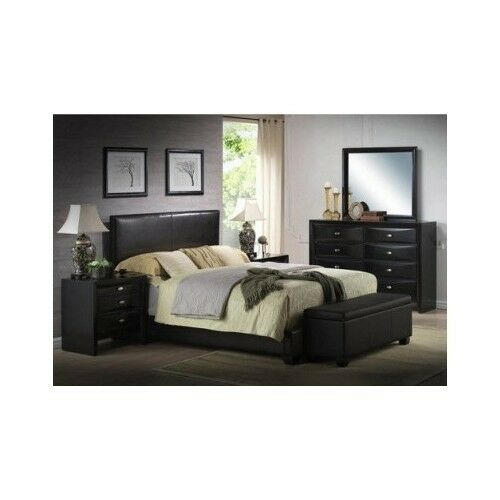 Modern King Size Leather Faux Bed Frame Bedroom Headboard