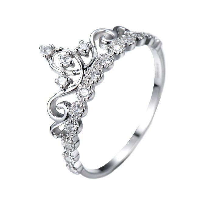 dainty 925 sterling silver crown ring princess ring