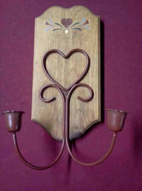 Wrought Iron Wall Decor Candle Holders : Rustic primitive love heart candle holder wall hanging