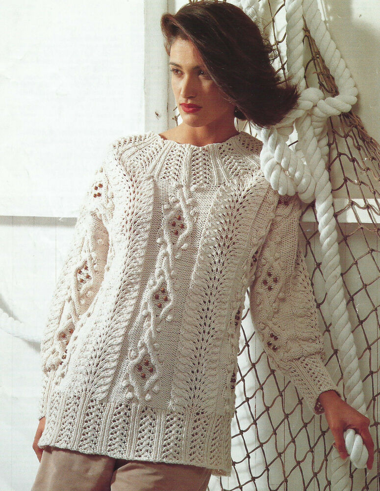 Knitting Pattern Sweater Lace : Ladies Knitting Pattern Cable Lace Bobble Sweater 32-42 ...