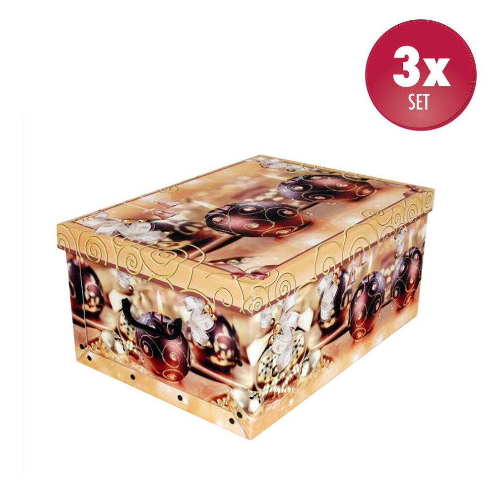 3x dekokarton weihnachten dekobox mit deckel geschenkkarton schachtel 51x37x24cm ebay. Black Bedroom Furniture Sets. Home Design Ideas