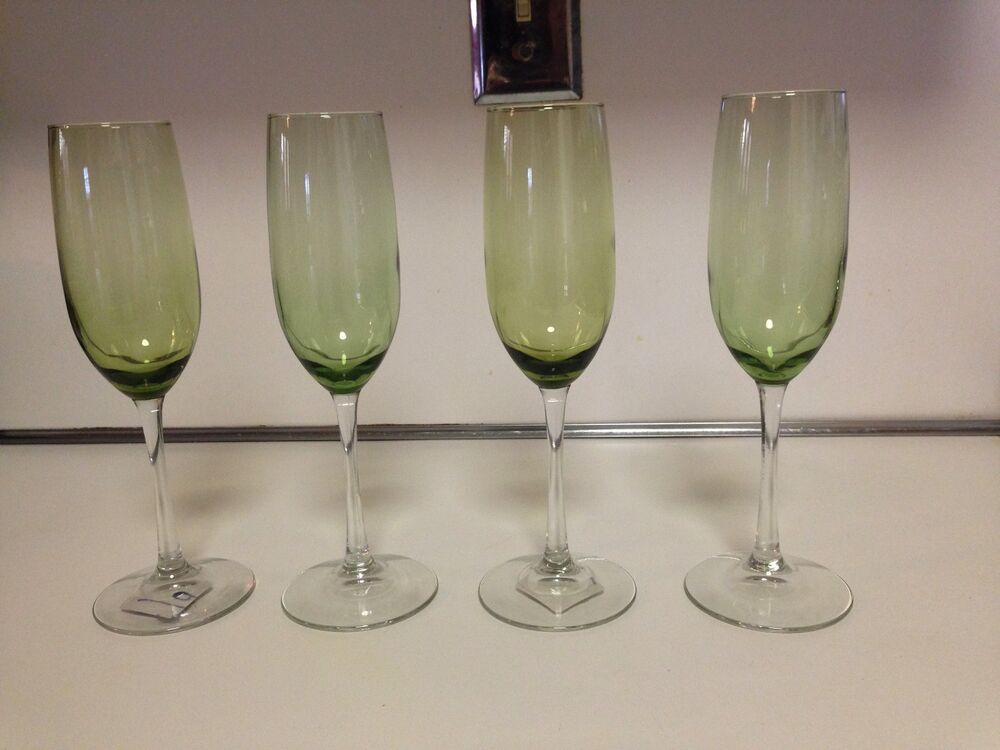 Champagne fluted glasses green bowl w clear stem 4 total slightly used if any ebay - Fluted wine glasses ...