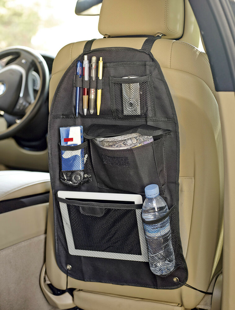 sumex branded cars black back seat travel organizer tidy bag with ipad holder ebay. Black Bedroom Furniture Sets. Home Design Ideas