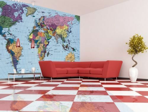 wall mural photo wallpaper map of the world for living
