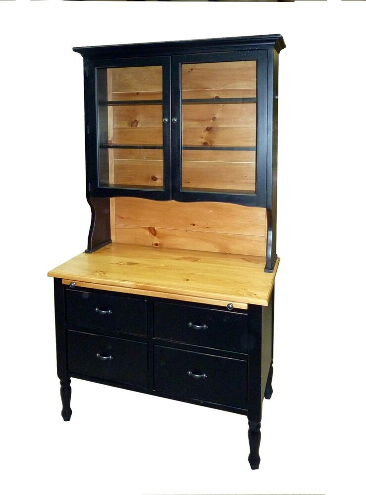 Missouri Pine Baking Cabinet &Top Hutch w Glass Doors USA