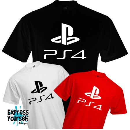img-PS4 - PLAYSTION 4 - T Shirt, Logo, Gaming, Present, Fun, Cool, Quality, NEW
