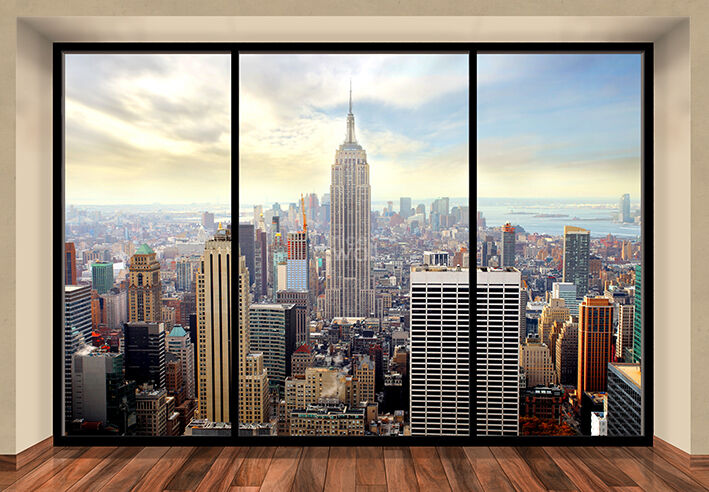 wandbild new york city skyline penthouse fototapete. Black Bedroom Furniture Sets. Home Design Ideas