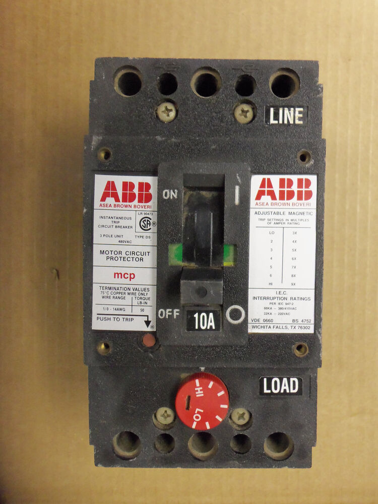 Abb type ds motor circuit protector 10 amp chipped ebay for Abb motor circuit protector