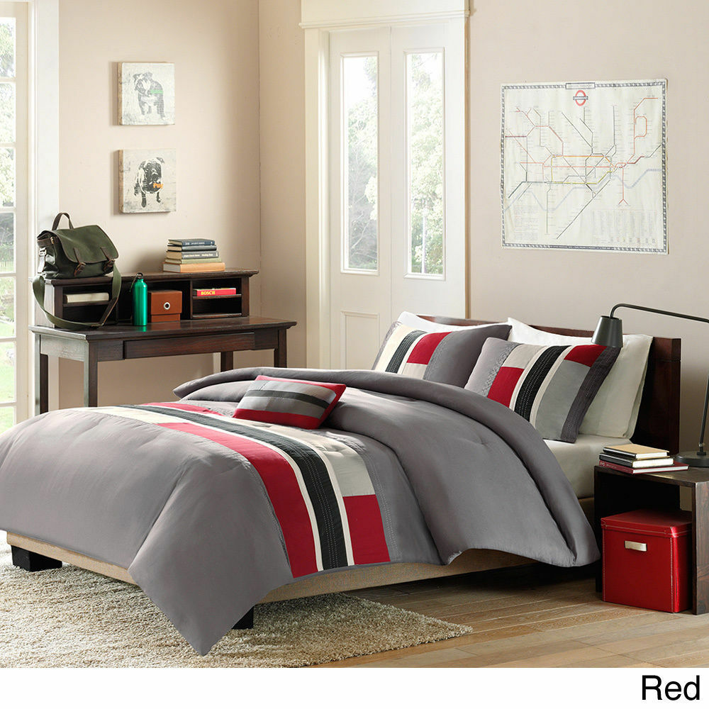 sporty cozy red grey black white orange green stripe boys comforter set pillow ebay. Black Bedroom Furniture Sets. Home Design Ideas