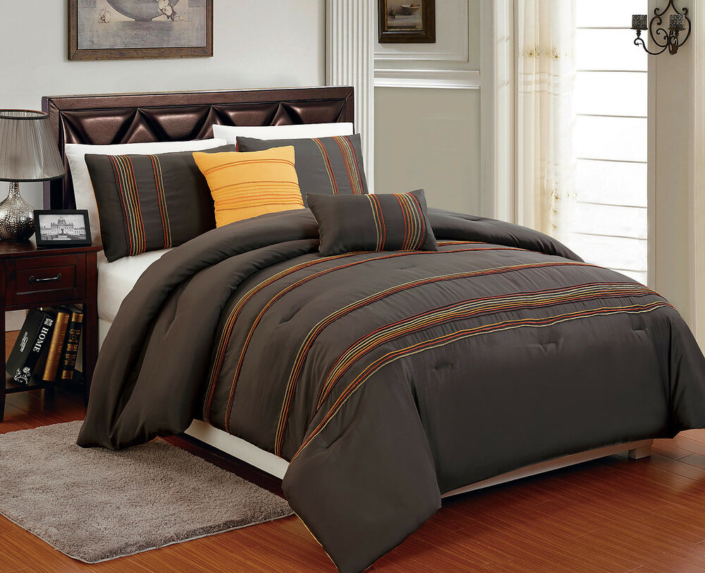 brown bed sets king comforter amp brown marigold orange soft 10950