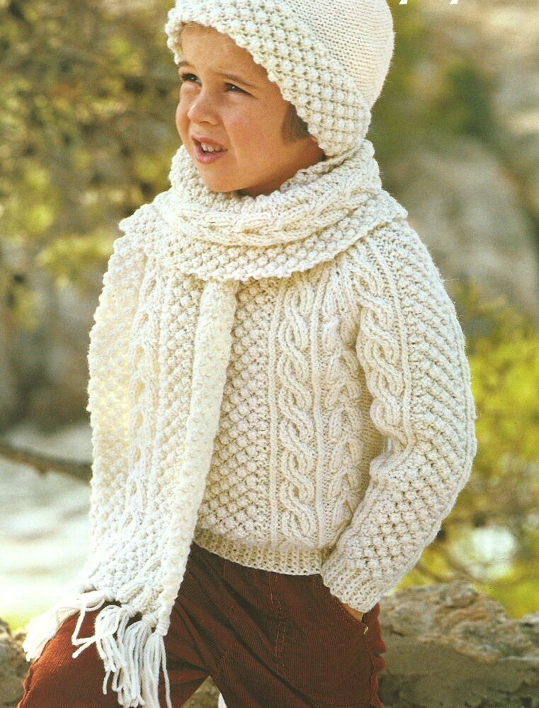 Free Aran Knitting Patterns For Boys : Girls Boys Aran Knitting Pattern Sweater Hat Scarf 22-32