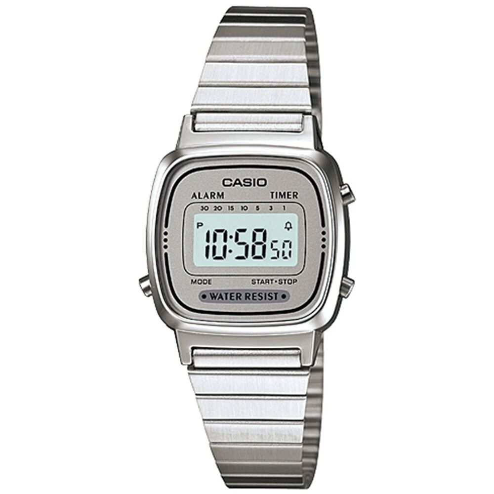 Casio ladies digital watch silver grey la670wa 7df ebay for Watches digital