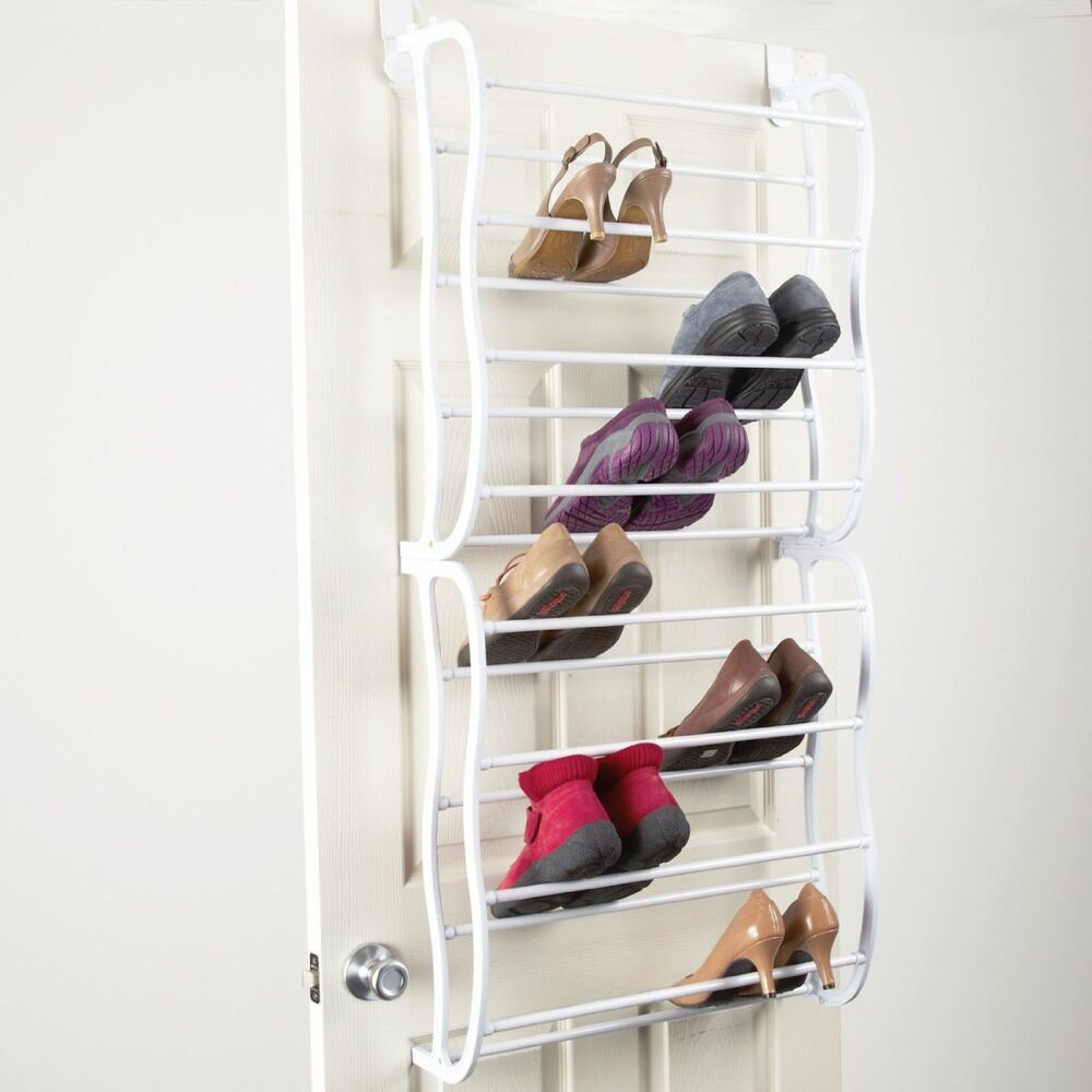 24 pair over door hanging shoe rack shelf organiser hook holder storage stand ebay - Shoe rack designs for small spaces decoration ...