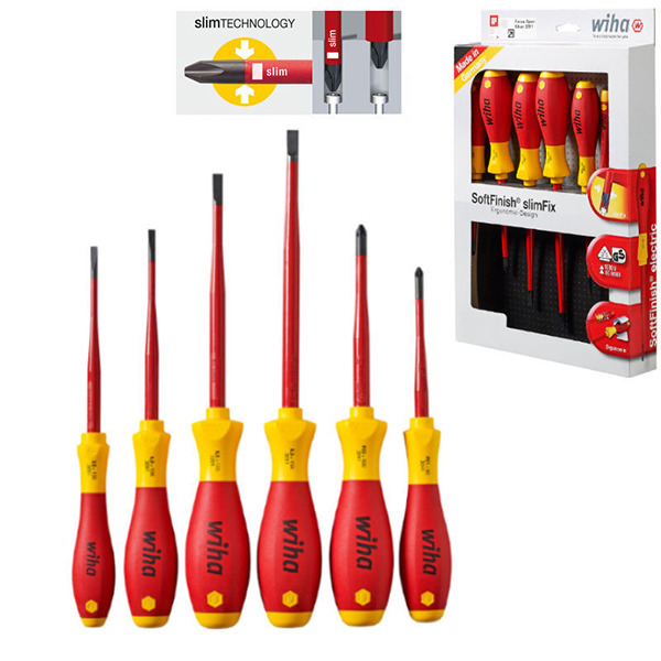wiha 36455 6 piece vde 1000v slot pozi slimfix screwdriver set voltstick ebay. Black Bedroom Furniture Sets. Home Design Ideas