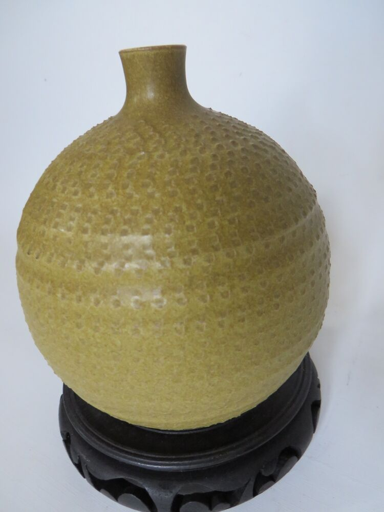 Japanese arts and crafts pottery vase with green matte for Arts and crafts vases pottery